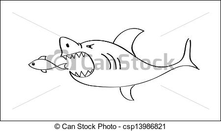 Vector Illustration of shark attack cartoon vector illustration.