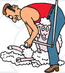 Clipart Illustration of a Man Shearing A Happy Sheep.