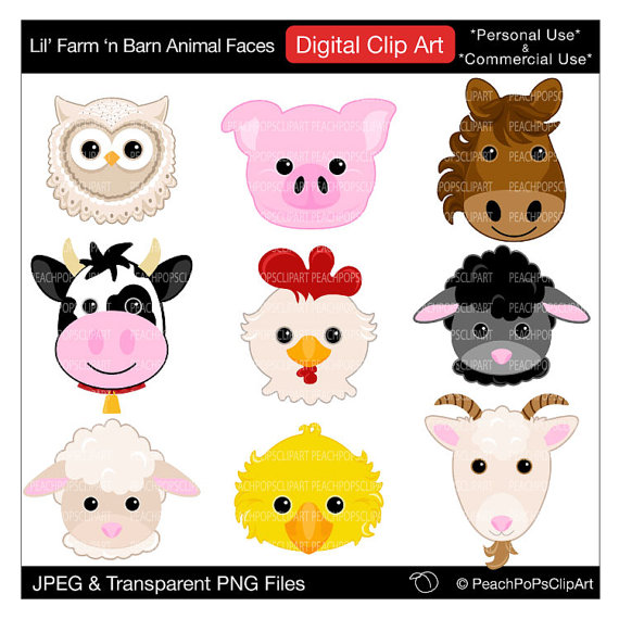 barn animal faces clip art digital clipart pig horse cow sheep.