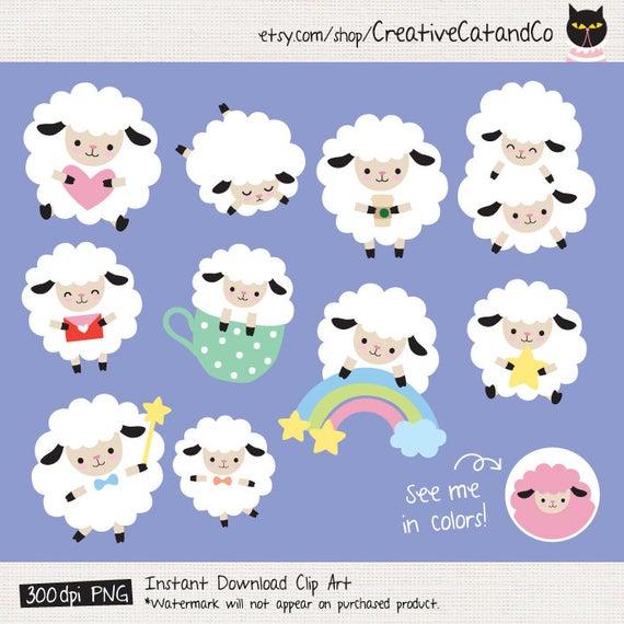 Sheep Clipart White Sheep Clip Art Cute Sheep Clipart Cute Digital Sticker  Lamb Sheep Planner Sticker Clipart Sheep planner Sticker Digital.