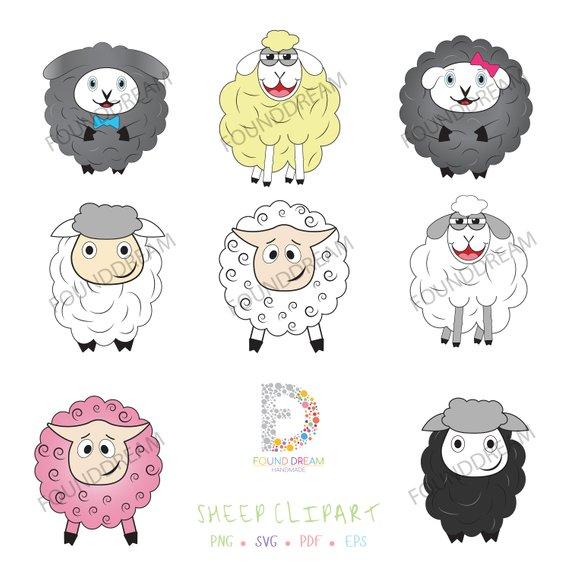 Cute Sheep Clipart, Cute Sheep Clip Art, Lamb Clipart Set, Cute Lamb.