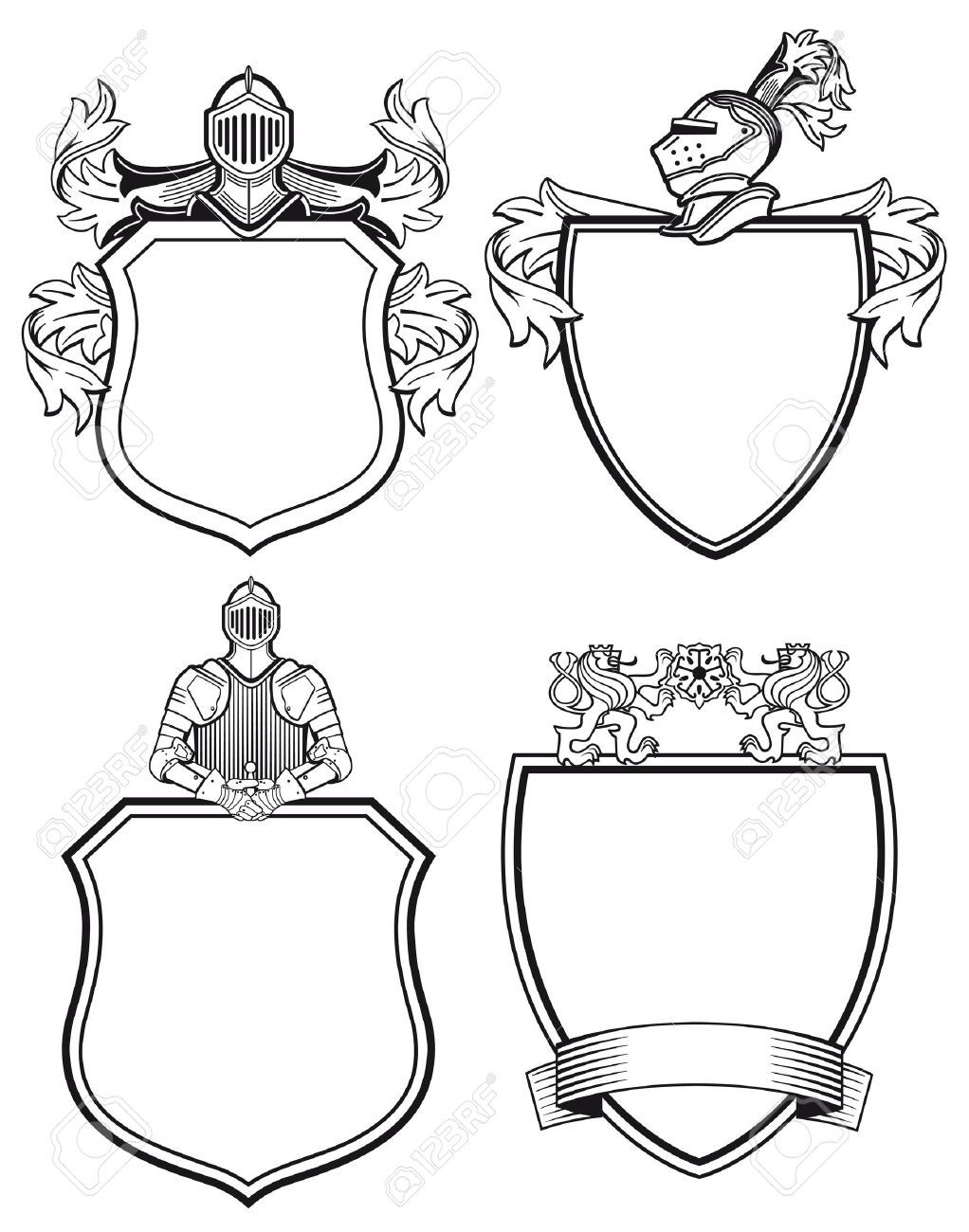 coat of arms: Knight shields and crests Illustration.