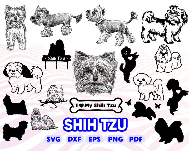 SHIH TZU SVG, dog svg, shih tzu clipart, shih tzu silhouette svg, svg for  cricut, svg designs, bundle, monogram, dog love svg, dxf, vector.