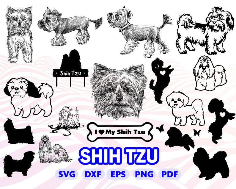 SHIH TZU SVG, dog svg, shih tzu clipart, shih tzu silhouette svg, svg for  cricut, svg designs, bundle, monogram, dog love svg, dxf, vector.