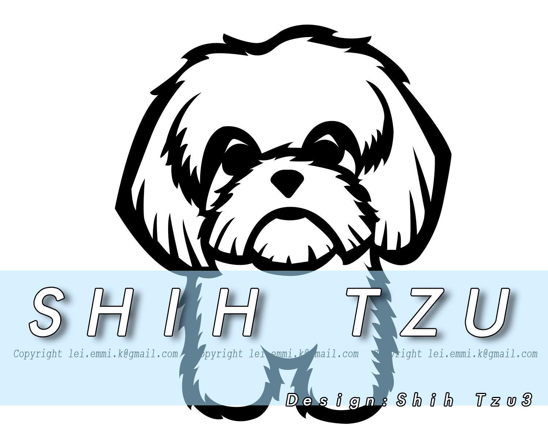 shih tzu svg, pet svg, dog svg, dog clipart, shih tzu clipart, pet lover,  dog lover, line art, vector, svg file, dxf file, printable, decal.