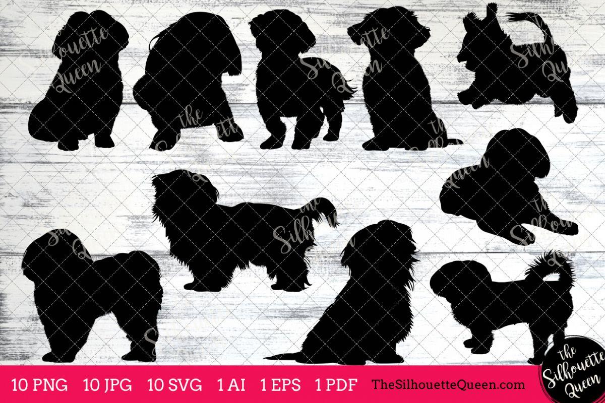 Shih Tzu Dog Silhouette Clipart Clip Art (AI, EPS, SVGs, JPGs, PNGs, PDF) ,  Shih Tzu Clipart Vectors.