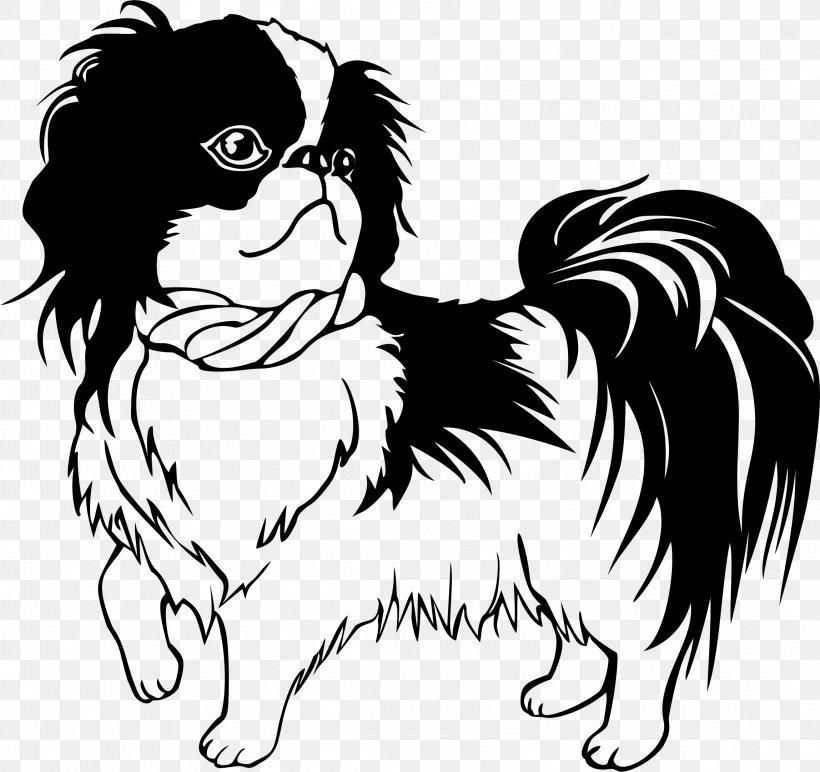Shih Tzu Japanese Chin Puppy Line Art Clip Art, PNG.