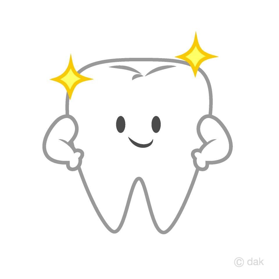 Free Shiny Cute Tooth Clipart Image|Illustoon.