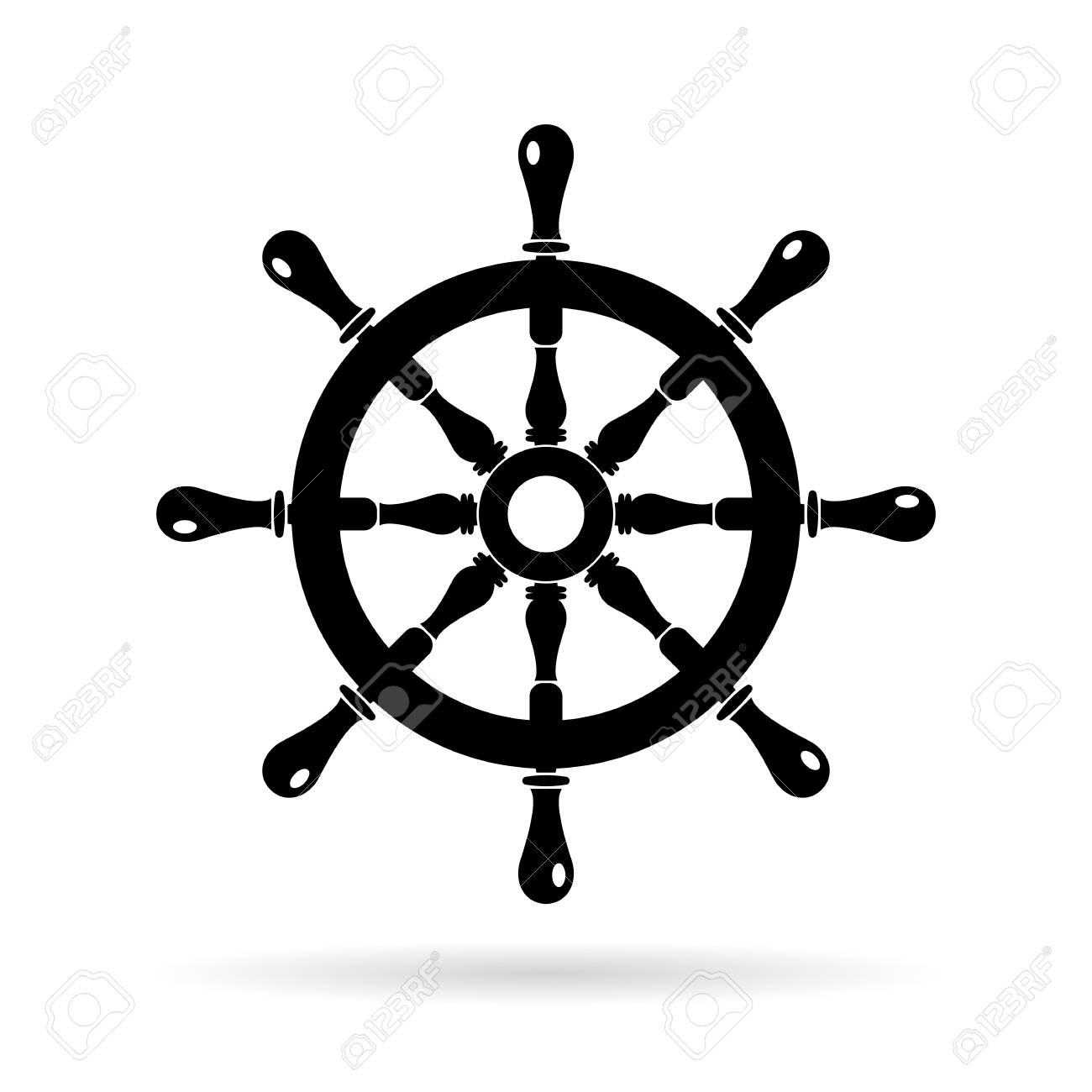 Boat steering wheel vector icon.