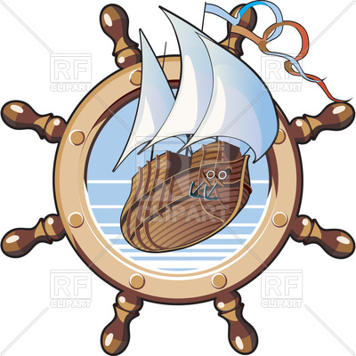An image of ship is in framing of steering wheel Vector Image.