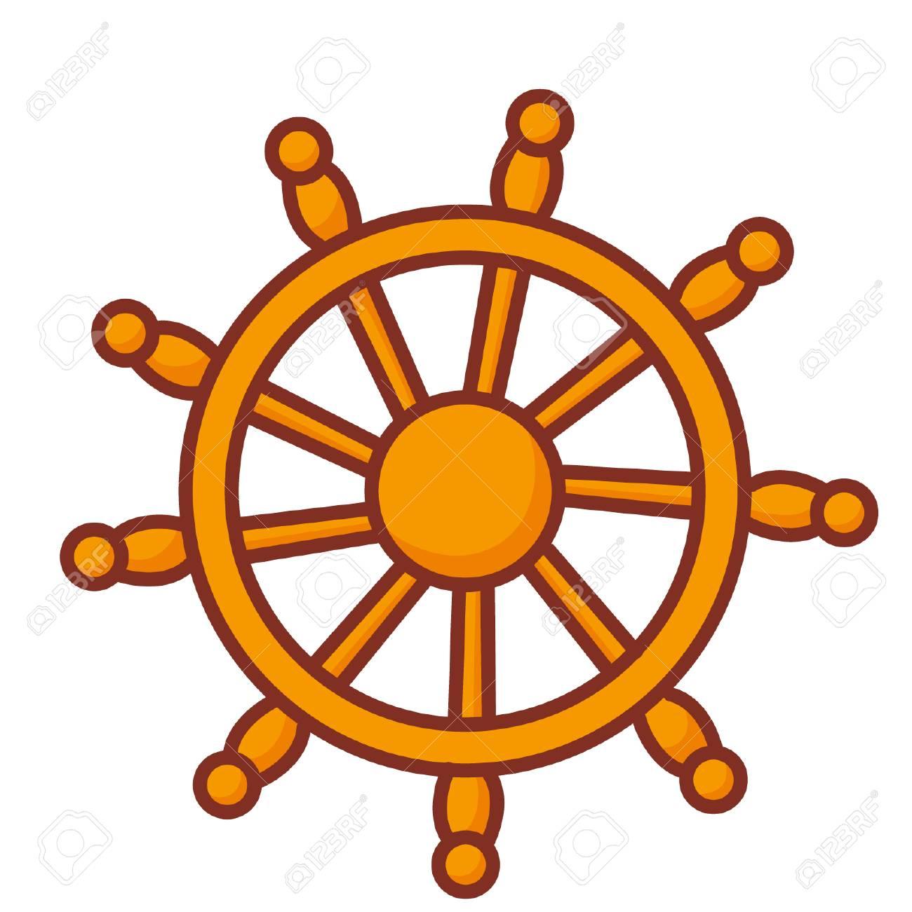 Cartoon ship steering wheel.
