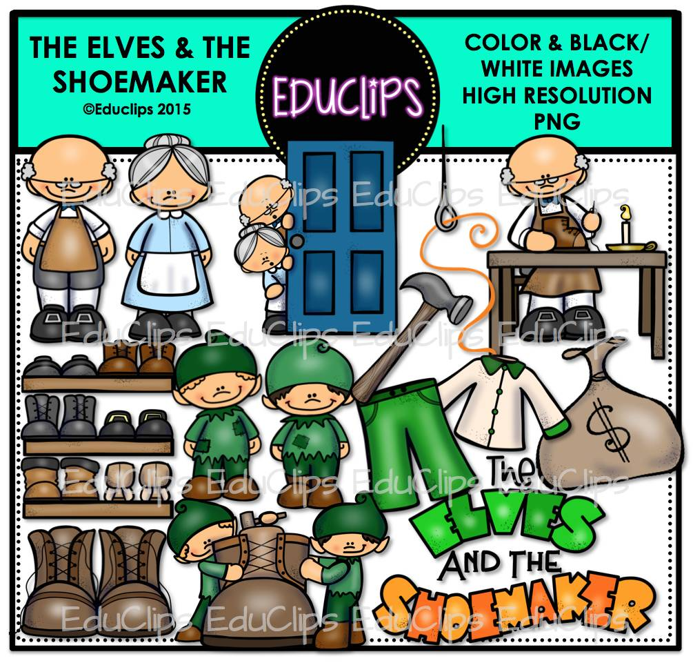The Elves And The Shoemaker Clip Art Bundle (Color and B&W).
