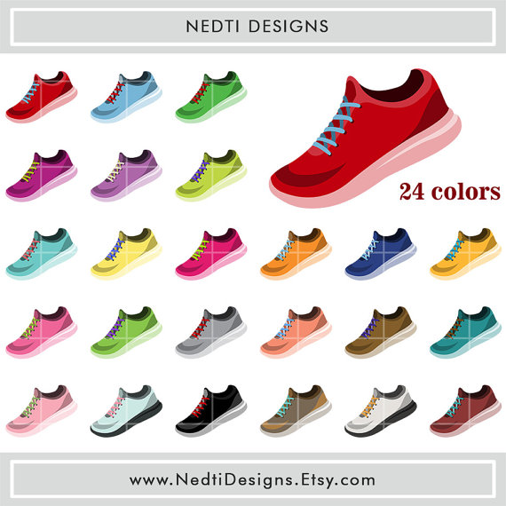 Running Shoes Clipart Rainbow Color Sport Clip Art.