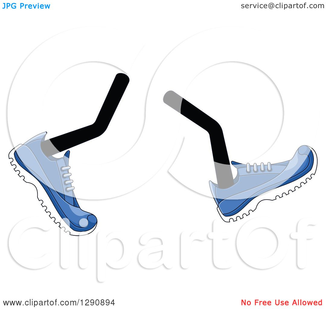 Clipart of a Pair of Walking Legs Wearing Blue Tennis Shoes.
