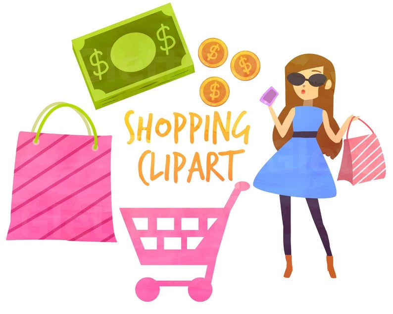Shopping Clipart, Fashion Clipart, Shopping Bags Clipart, for personal and  commercial use, instant download, scrapbooking, planner stickers.