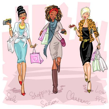 36,470 Shopping Girl Cliparts, Stock Vector And Royalty Free.