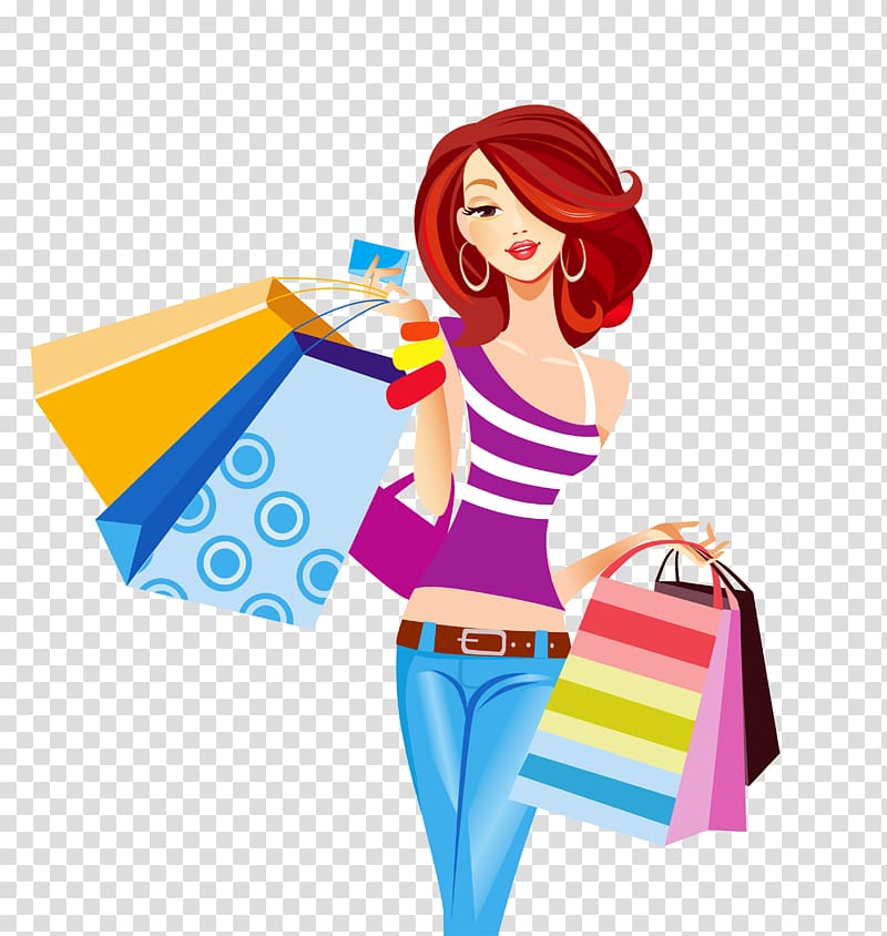 Woman holding shopping bags illustration, Shopping bag Shopping cart.