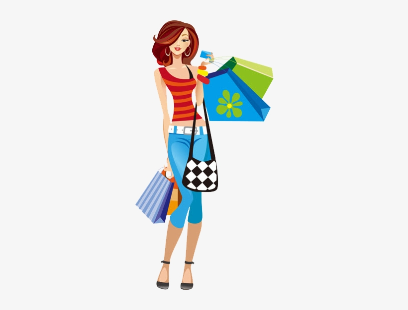 Download Free png Girl Shopping Clipart Png Shopping Girl Clipart.