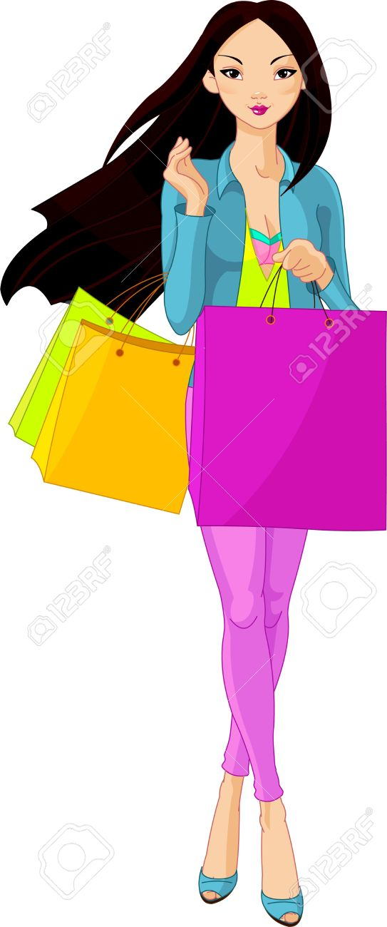 Illustration of Beautiful Asian Girl with shopping bags.