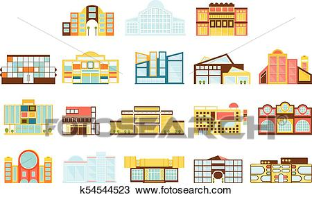 Shopping Mall, Department Store And Supermarket Shops Architecture Ideas  Set Clipart.