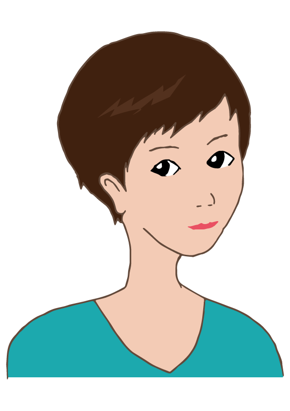 short hair woman.