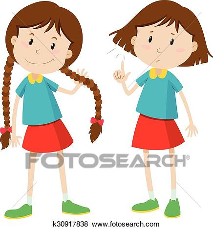 Little girl with long and short hair Clip Art.