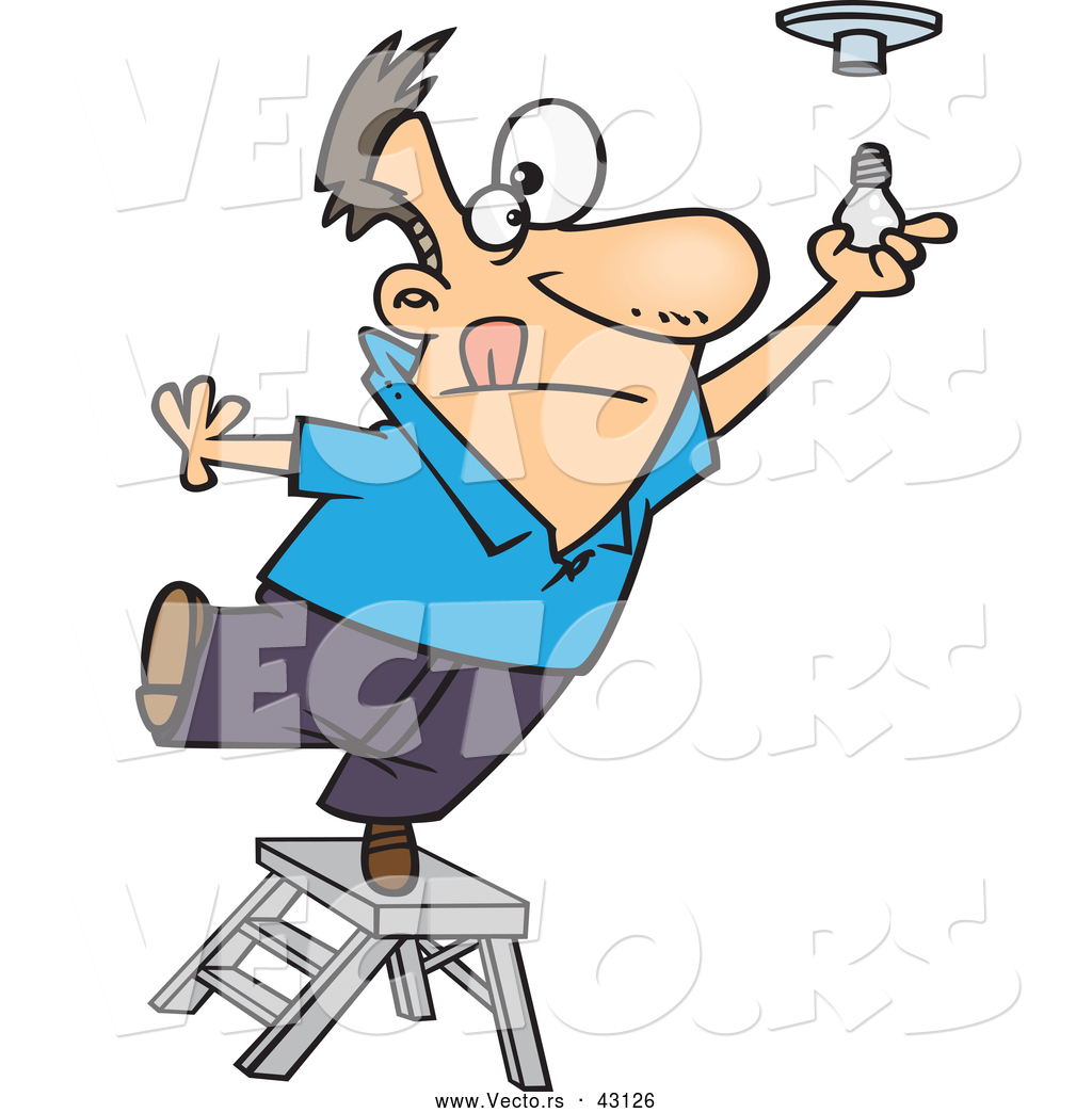 Vector of a Short Cartoon Man Standing on a Ladder While Trying to.