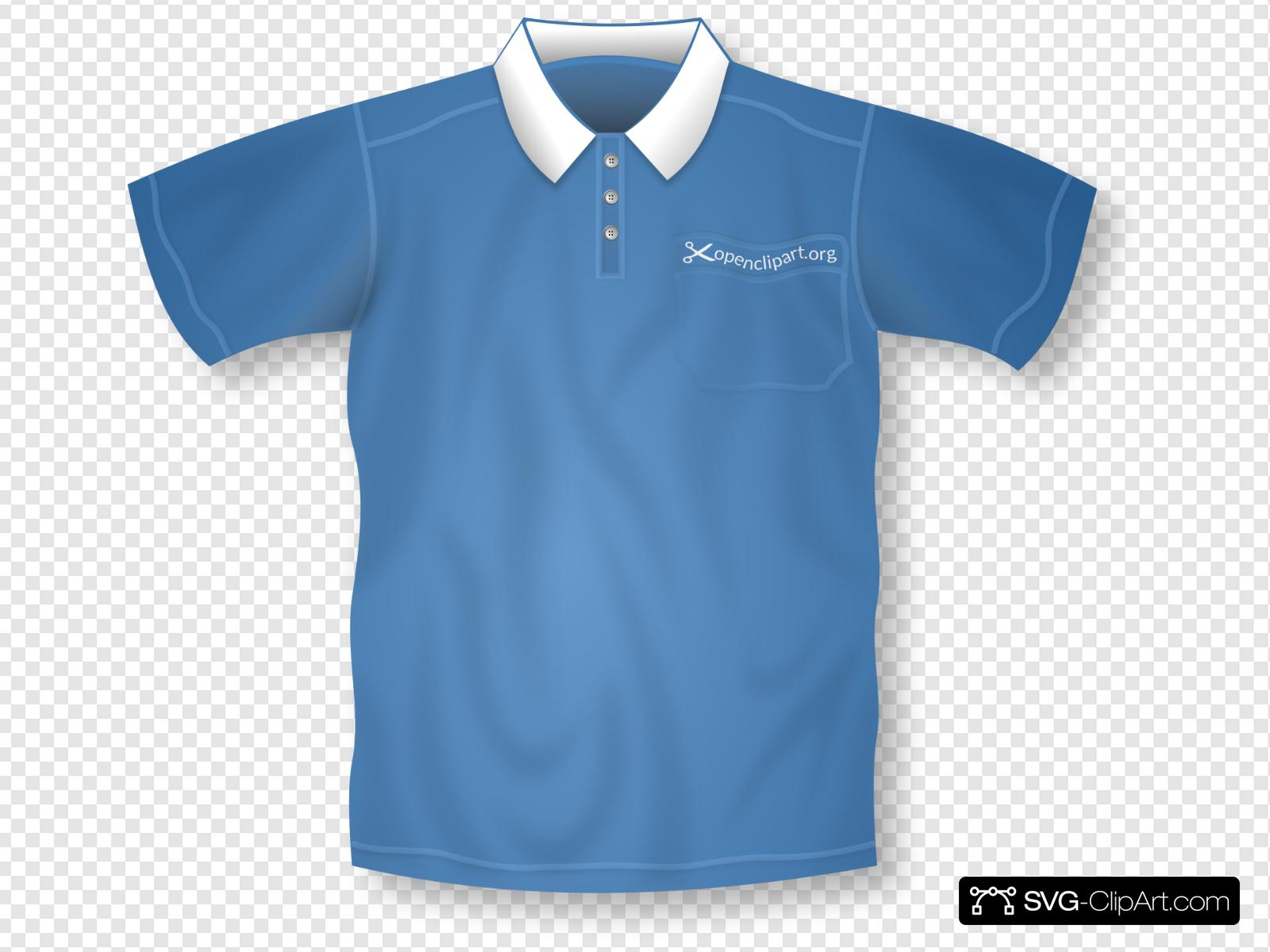 Blue Collared Short Sleeve Shirt Clip art, Icon and SVG.