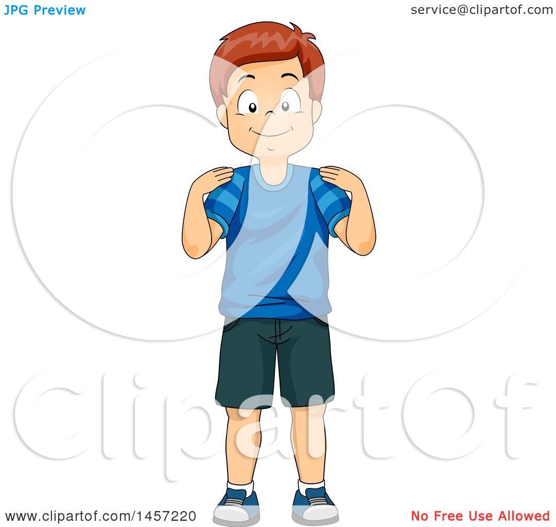 Clipart of a Happy Red Haired Caucasian Boy Touching His Shoulders.