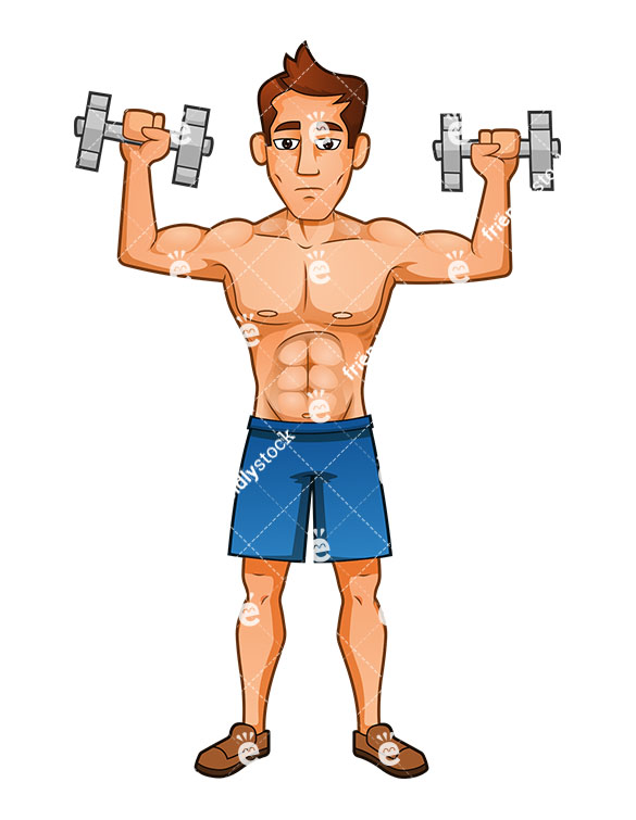 A Muscular Man Executing A Shoulder Press With Dumbbells.