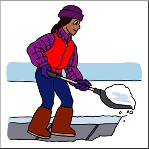 Clip Art: Kids: Chores: Shoveling Snow Color I abcteach.com.