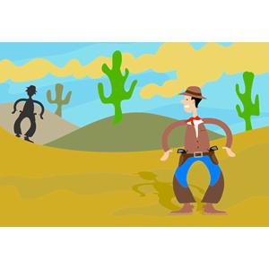 Showdown In The Desert clipart, cliparts of Showdown In The.