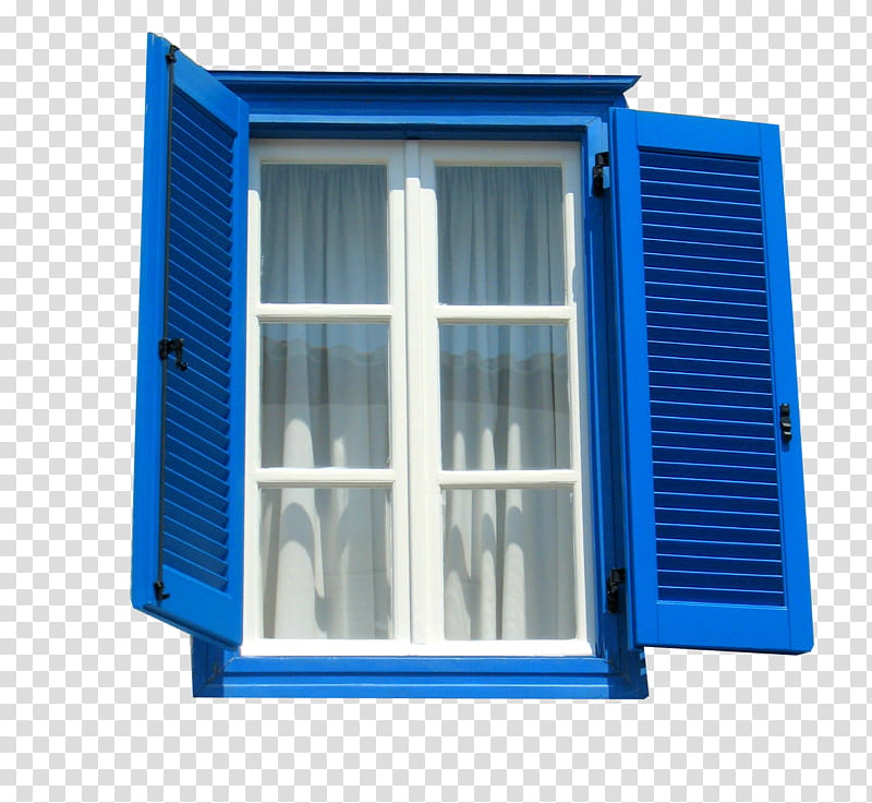 Windows, blue wooden window shutters transparent background.