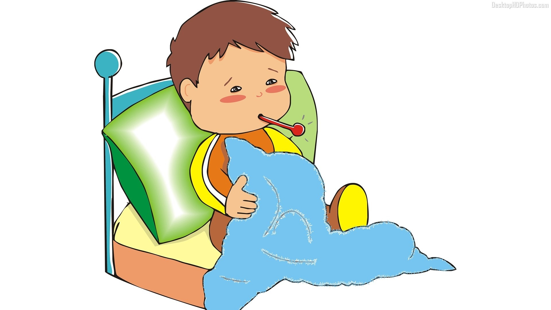 Sick Boy In Bed Clipart.