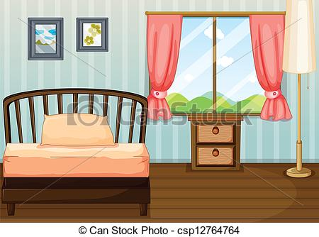 Clipart Vector of A bed, a lamp and a side table.