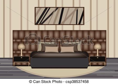 Clipart Vector of Bedroom Illustration. Elevation Room with Luxury.