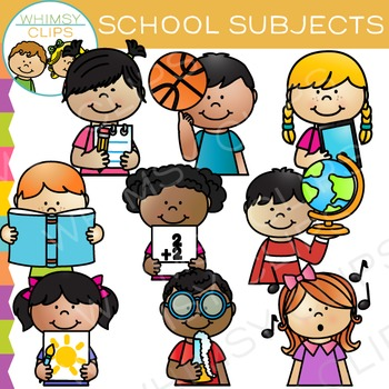 Sidekicks School Subjects Clip Art by Whimsy Clips.