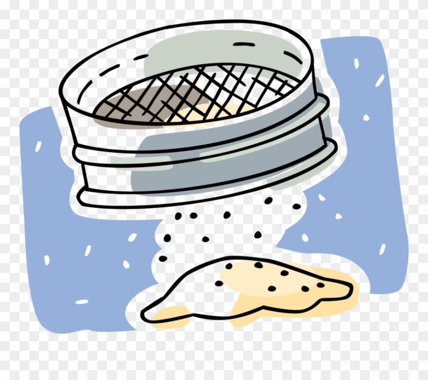 Vector Illustration Of Sieve Or Sifter Sifting Baking.