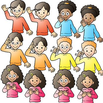 Sign Language Clipart Kids.