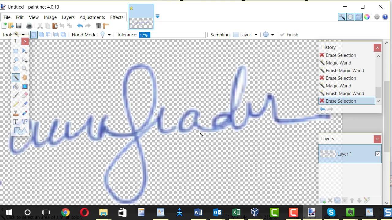 Create signature image with transparent background.