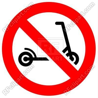 No scooter zone prohibition sign Vector Image.