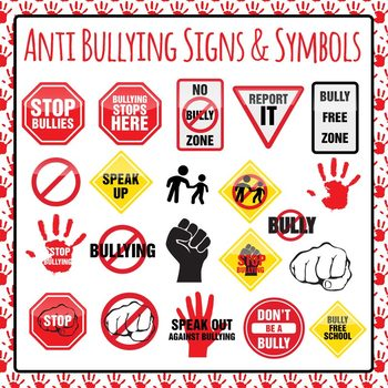 Anti Bullying Signs Symbols and Icons Clip Art Pack for Commercial Use.