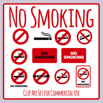 No Smoking Signs / Symbols Clip Art Set for Commercial use.