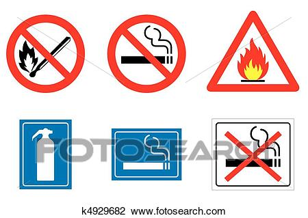 Fire signs and symbols Clipart.