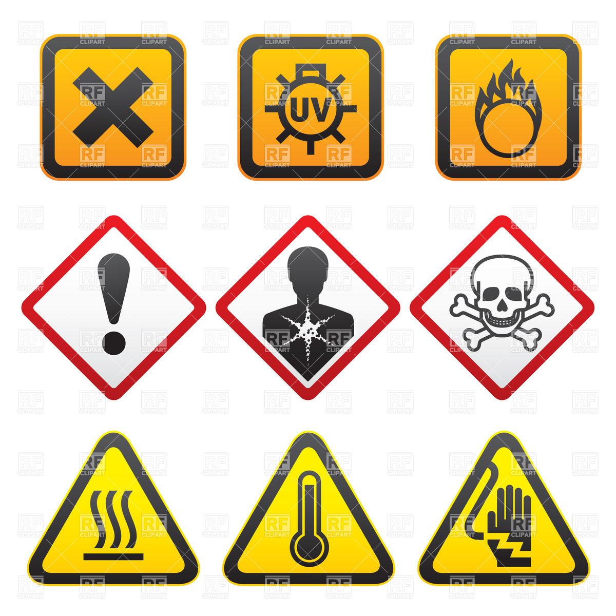 Warning symbols and hazard signs Stock Vector Image.