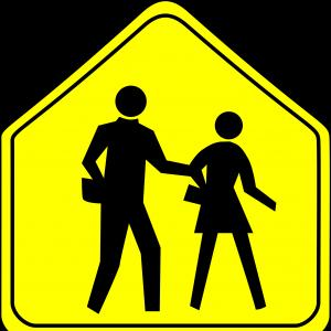 Free Stock Vector School Students Crossing Sign Draw.