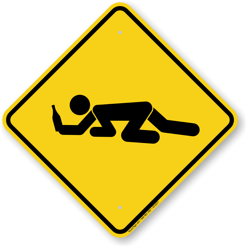 Drunk Student Crossing Symbol Sign, SKU: K2.