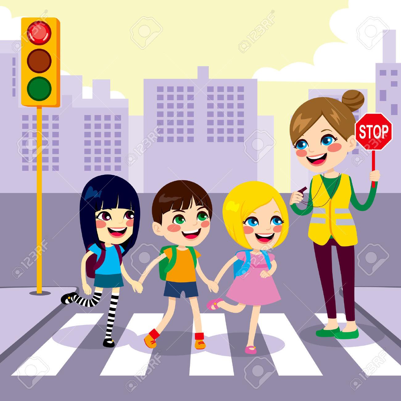 Three Cute Little Children School Students Crossing Street.