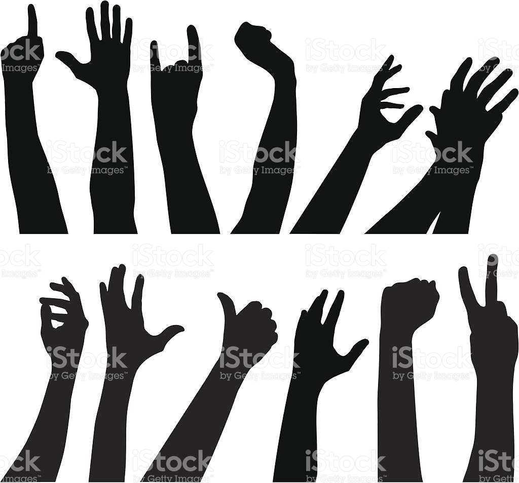 Silhouette Of The Hands Reaching Out To Each Other Clip Art.