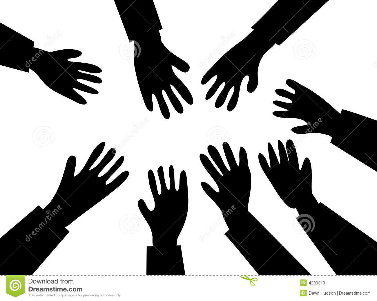 Reaching hands clipart.